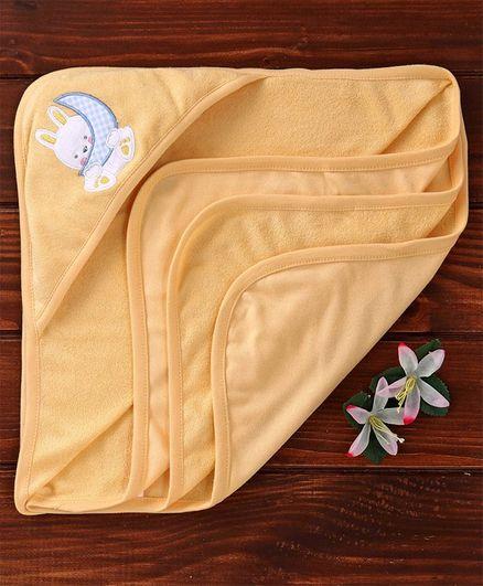 Zero  Hooded Towel Bunny Embroidery - Orange
