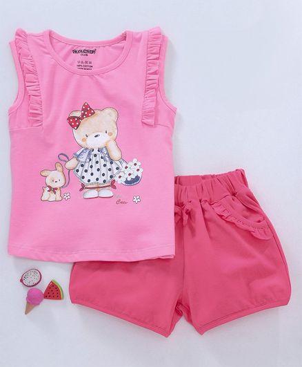 Cucumber Sleeveless Top & Shorts Set Bear Print -  Pink