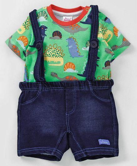 Whaou Dino Print Half Sleeves Tee & Suspender Shorts Set - Green & Blue