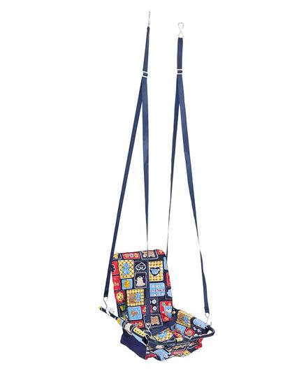 Mothertouch 2 In 1 Swing With Safety Harness Teddy Print - Blue