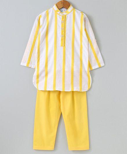 Knitting Doodles Striped Full Sleeves Kurta & Pyjama Set - Yellow & White