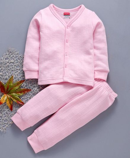 Babyhug Full Sleeves Thermal Vest & Full Length Bottoms - Pink