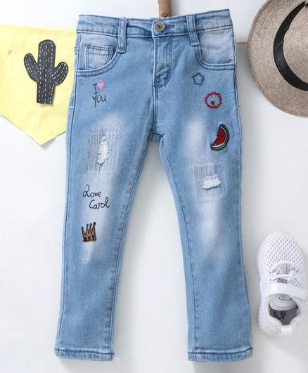 Kookie Kids Full Length Jeans Love Print - Blue