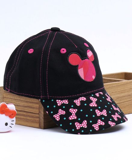 Babyhug Summer Caps Minnie Mouse Patch - Black
