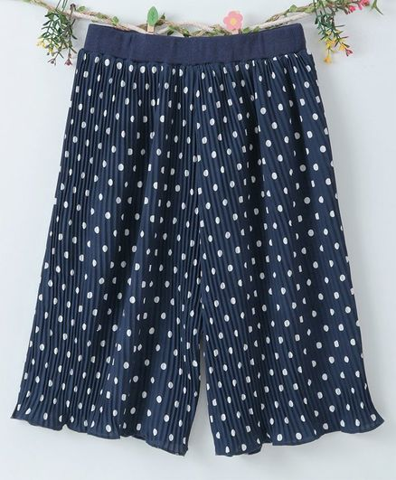 Lekeer Kids Full Length Elasticated Waist Pallazo - Navy Blue