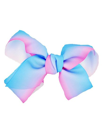 ELSANOA Ribbon Bow Hair Clip - Blue & Pink