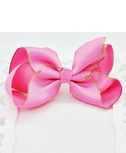 ELSANOA Ribbon Bow Hair Clip - Dark Pink