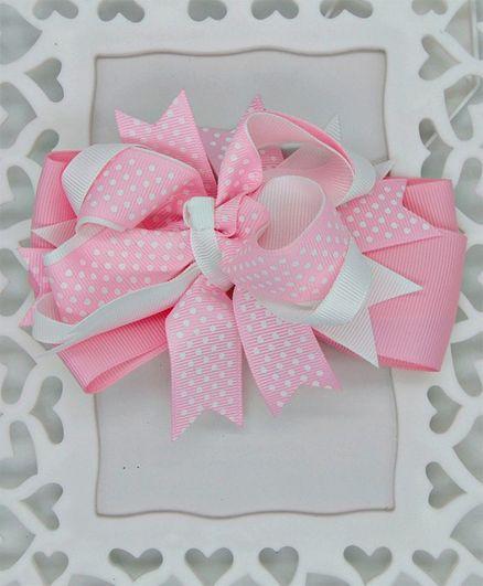 ELSANOA Polka Dot Print Bow Hair Clip - Pink