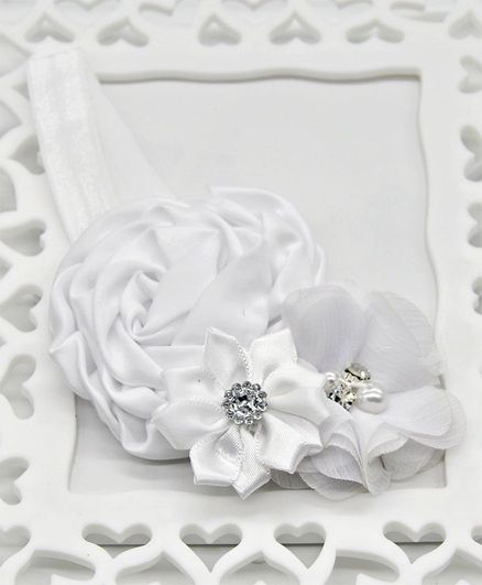ELSANOA Flower Headband With Pearl & Crystal Detailing - White