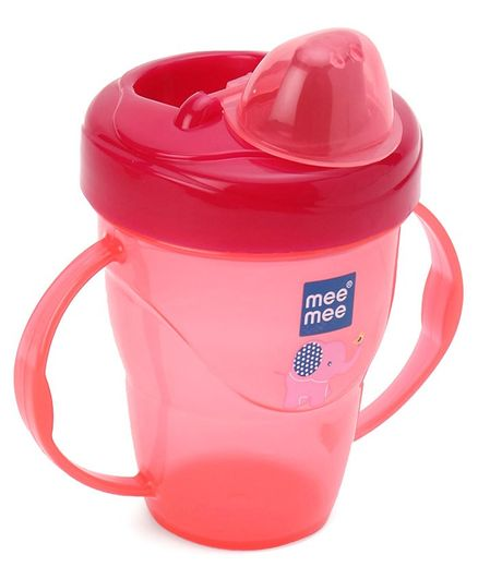 Mee Mee Easy Grip Twin Handle Non Spill Sipper Cup Dark  Pink - 180 ml