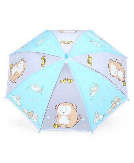 Umbrella With Whistle Monkey Print - Blue