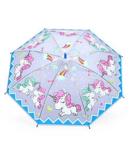 Umbrella With Whistle Unicorn Print - Blue Grey