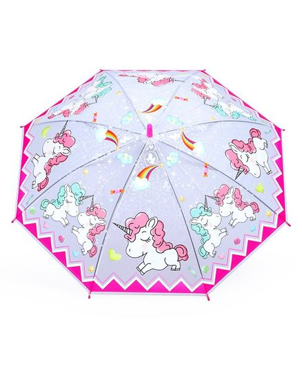 Umbrella With Whistle Unicorn Print - Pink Blue