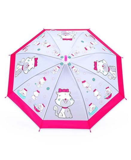 Umbrella With Whistle Kitty Print - Pink Grey