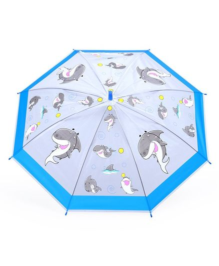 Umbrella With Whistle Whale Print - Blue