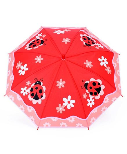 Ladybug & Floral Print Umbrella With Whistle - Red Black