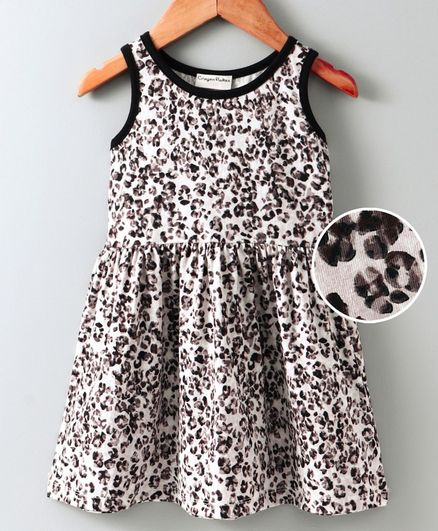 Crayonflakes Sleeveless Leopard Print Dress - Off White & Brown