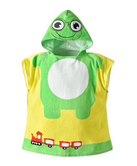 Pre Order - Awabox Frog Printed Sleeveless Bathrobe - Green