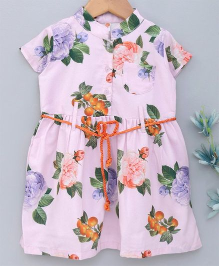 Dew Drops Short Sleeves Frock Floral Print - Pink