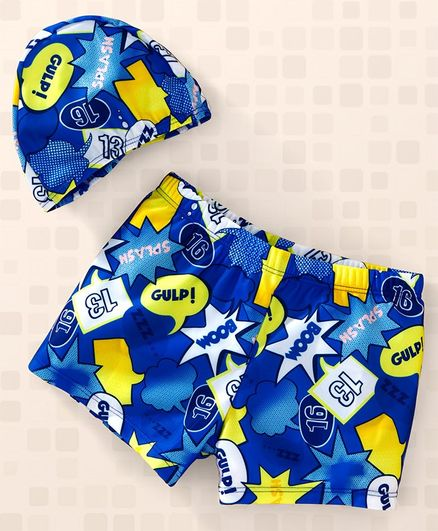 Yellowbee Boom & Gulp Printed Swimming Shorts With Cap - Blue