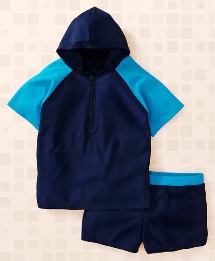 Yellowbee Color Block Print Half Sleeves Hooded T-Shirt & Shorts Set - Navy Blue