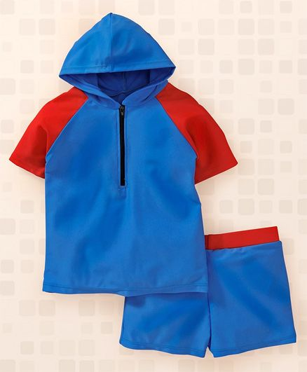 Yellowbee Color Block Half Sleeves Hooded T-Shirt & Shorts Set - Blue