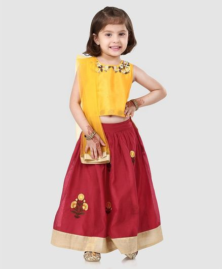 Babyhug Sleeveless Choli And Lehenga With Net Dupatta Bead Detailing - Yellow Red