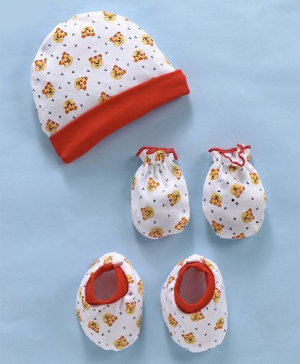 Babyhug Cap Mittens & Booties Set Allover Print - Red White