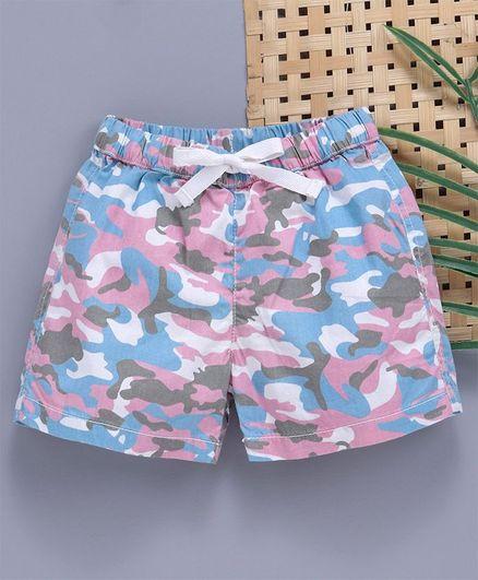 Babyhug Camouflage Print Elastic Waist Shorts - Pink