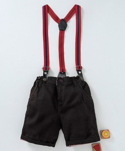 Olio Kids Shorts With Suspenders - Brown