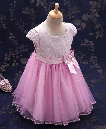 Kookie Kids Cap Sleeves Party Wear Frock Bow Applique - Pink