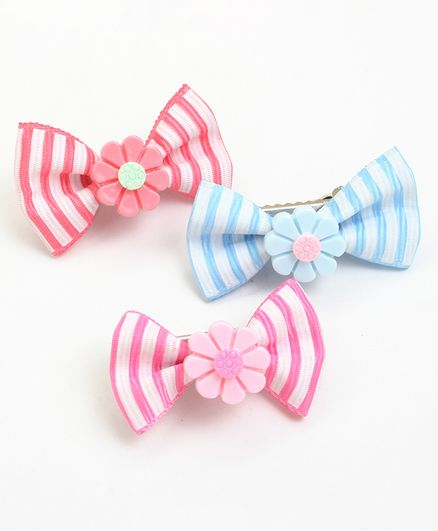 Asthetika Set Of 3 Colourful Striped Mini Bow Hair Clips - Blue & Pink