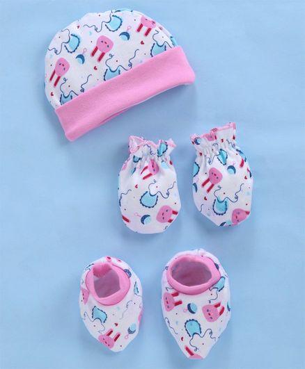 Babyhug Organic Cotton Cap Mitten And Booties Set Bunny Print - White Pink