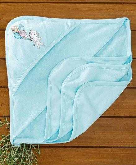 Zero Hooded Towel Zebra Embroidery - Blue