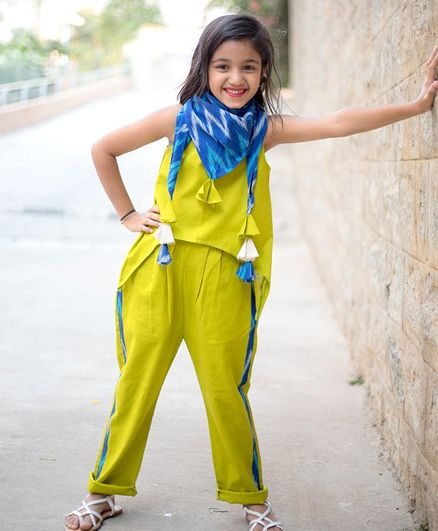 Tutus by Tutu Solid Sleeveless Top & Trouser With Printed Scarf Set - Green & Blue