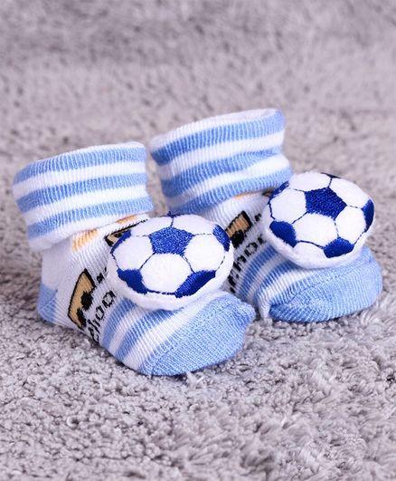 Cute Walk by Babyhug Ankle Length Sock Shoes Football Motif - Blue