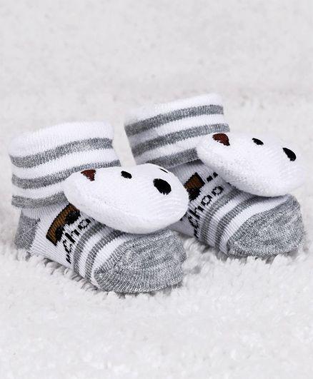 Cute Walk by Babyhug Ankle Length Sock Shoes Bear Motif - Grey White