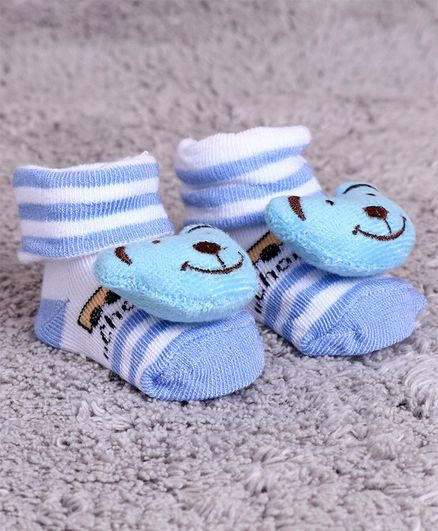 Cute Walk by Babyhug Ankle Length Sock Shoes Bear Smile Motif - Sea Green