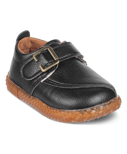 Kittens Shoes Velcro Closure Faux Leather Shoes - Black