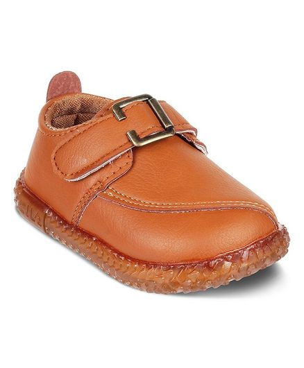 Kittens Shoes Velcro Closure Faux Leather Shoes - Brown