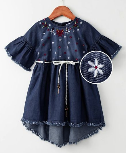 612 League Flower Embroidered Half Sleeves Dress With Belt - Blue