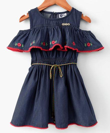 7bcc2c2daf1 612 League Flower Embroidered Half Sleeves Dress - Blue