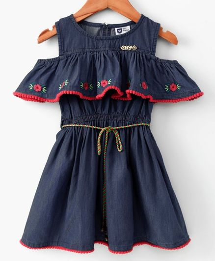 612 League Flower Embroidered Half Sleeves Dress - Blue