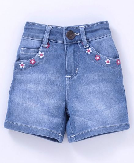 612 League Flower Embriodered Shorts - Blue