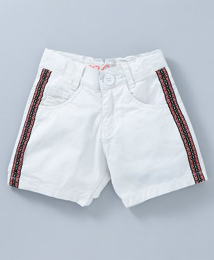 612 League Contrast Panel Patch Shorts - White