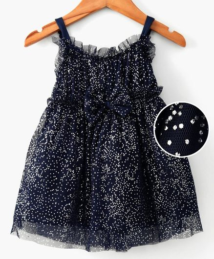 612 League Sleeveless Foil Print Fit & Flare Bow Decorated Dress - Navy Blue