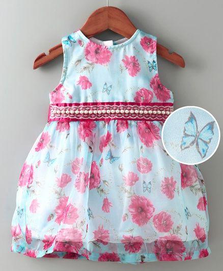 612 League Sleeveless Flower & Butterfly Print Fit & Flare Dress - Light Blue