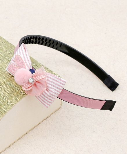 Kidlingss Striped Bow With Glittery Bunny Ears Hair Band - Peach