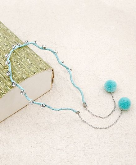 Kidlingss Pom-Pom Hoops Hair Band With Stone Detail - Sea Green