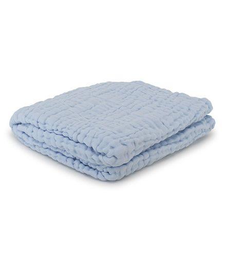 Kassy Pop Baby Muslin Cotton Bath Towel & Swaddle Blanket - Blue